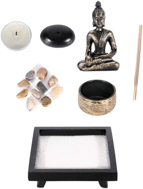 GoMaihe Zen Garden Ornaments Incense Stick Holder Candle Tray, Tealight Candlestick Holders Decorative Accessories, Home Decorations for Living Room Bathroom Dining Room, Spiritual Gift Set Women Men