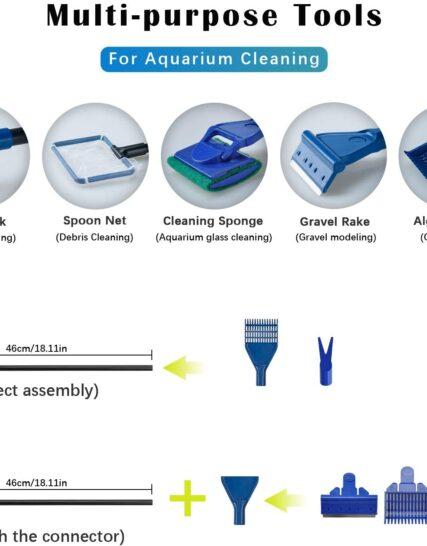 Lysport 5 in 1 Complete Aquarium Fish Tank Cleaning Set Fish Net + Rake + Scraper + Fork + Sponge Brush Glass Aquarium Cleaner Tool Kit