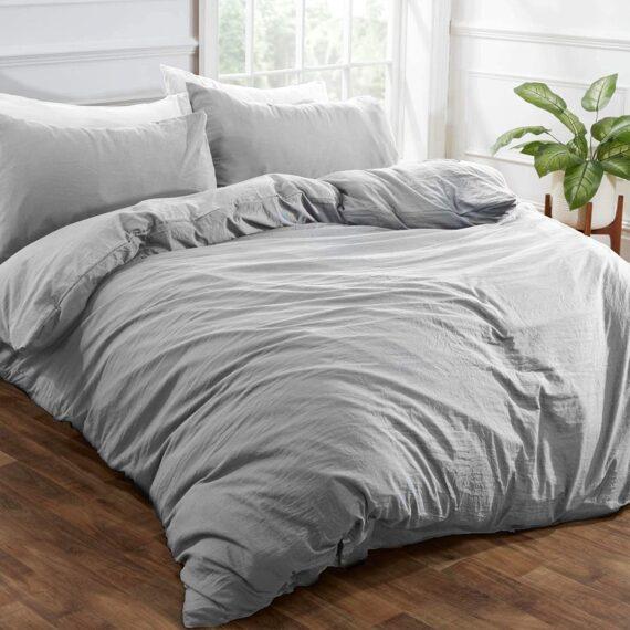Brentfords Washed Linen Duvet Cover with Pillow Case Soft Brushed Microfiber Bedding Set, Silver Grey, Double