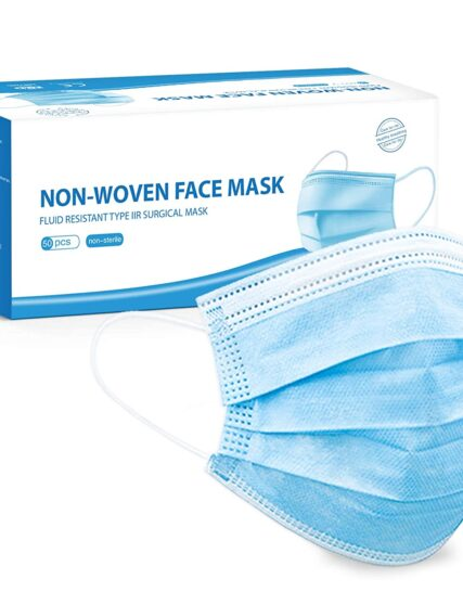 Merrimen 50pk - 3ply Surgical Type IIR Face Masks - Medical Fluid Protection, 98% BFE, EN14683:2019, Verified and Tested (Non Sterile)