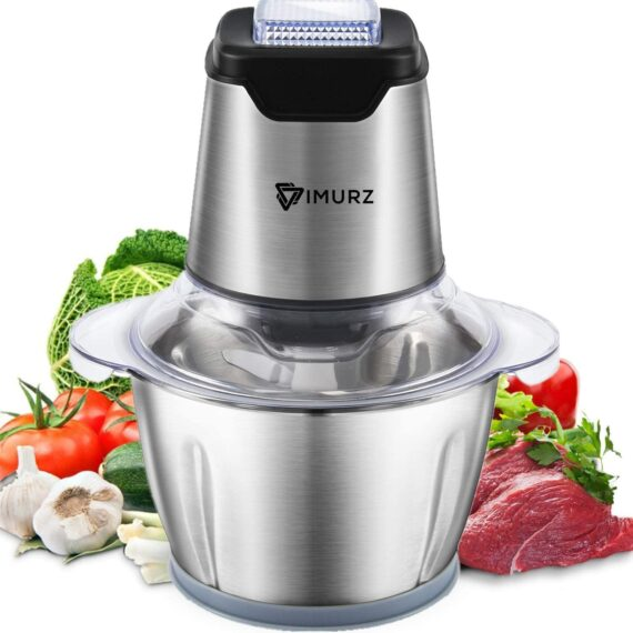 Food Chopper 600W, Eletric Food Processor 1.2L, 4 Sharp Blades, Stainless Steel Meat Grinder for Meat, Vegetables, Fruits, Onion and Nuts