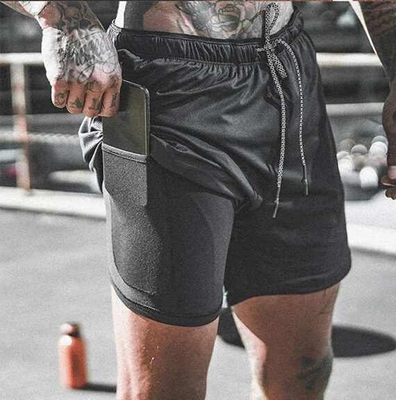 Lachi Mens Running Gym 2 in 1 Sports Shorts Outdoor Workout Training Shorts with Phone Pocket