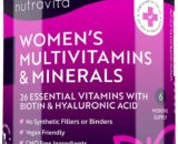 Women's Multivitamins and Minerals - 26 Essential Active Vitamins and Minerals Including Biotin and Hyaluronic Acid - 180 Vegan Tablets - No Synthetic Fillers or Binders - Made in The UK by Nutravita
