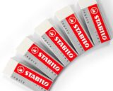 STABILO Legacy Large White Eraser Plastic Rubber Erasers [Pack of 5 Erasers]