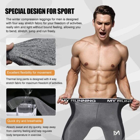 MEETYOO Men's Leggings, Sports Compression Tights Quick Dry Base Layer Bottom Training Pants for Running Cycling Workout Gym