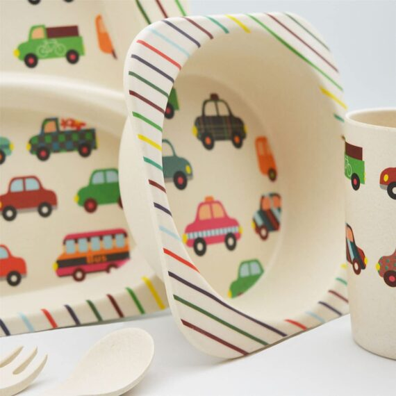 Tiny Dining Children's 5 Piece Bamboo Dinner set. Kids Plate, Bowl, Cup, Fork & Spoon - Cars Design