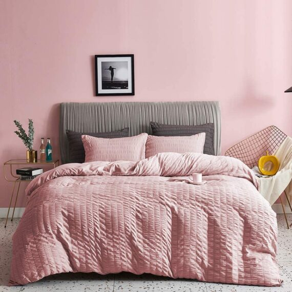 Seersucker Duvet Cover with Pillow Cases 100% Cotton 200 Thread Count Quilt Covers White | Silver | Charcoal | Pink | Grey Bedding Sets Double King Super King Size (Soft Pink, Double)