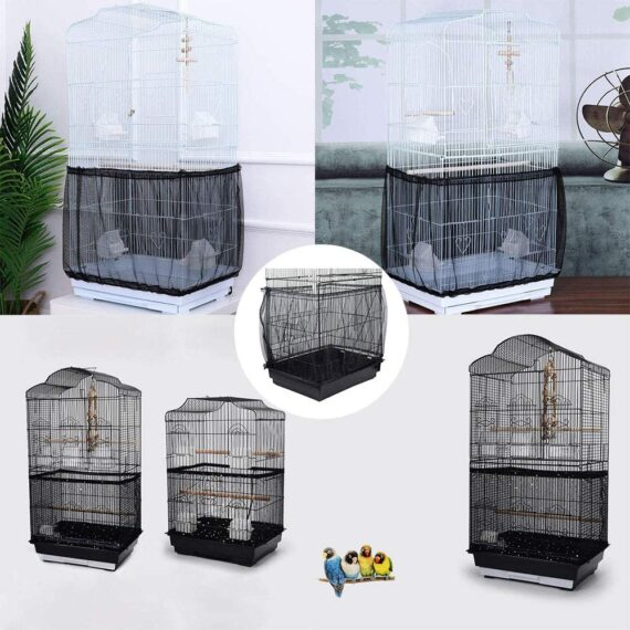 Wenxiaw Budgie Cage Skirt Bird Cage Net Cover Bird Cage Seed Catcher Parrot Cage Cover Stretchy Bird Cage Skirt Ventilate Tidy Birdcage Cover Skirt Guard Dustproof Bird Cage Accessories Black (Medium)