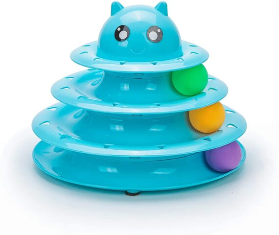 Vealind Pet Interactive Fun Roller Exerciser 3 Level Tower of Tracks Cat Teaser Ball Toy(Blue)