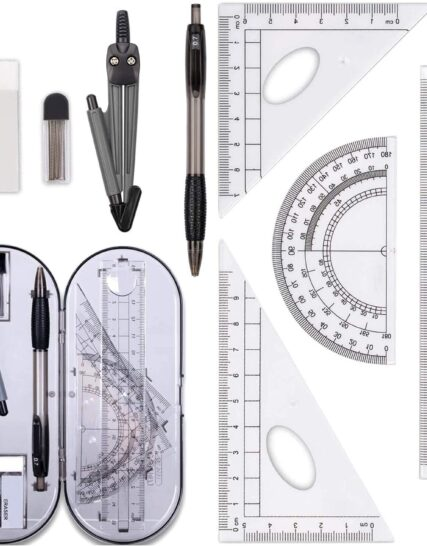 8 Pcs Geometry Set,Geometry Compass Sets, Math Kit Educational Supplies Drawing Compass and Protractor Set, Pencil Lead Refills, Pencil, Eraser, Rulers for School