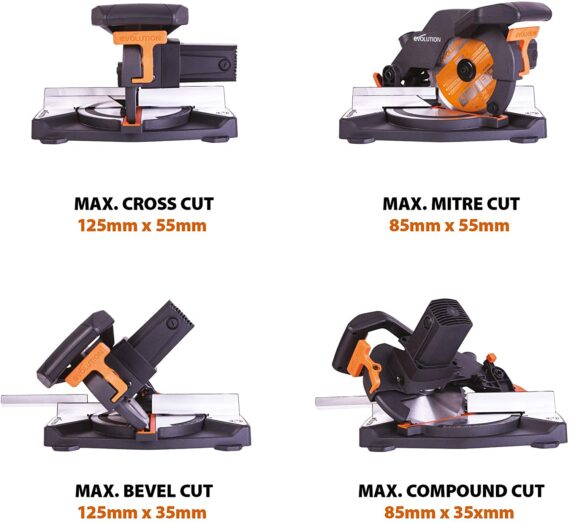 Evolution Power Tools R210CMS Compound Mitre Saw With Multi-Material Cutting, 45° Bevel, 45° Mitre, 1200W, (230 V)