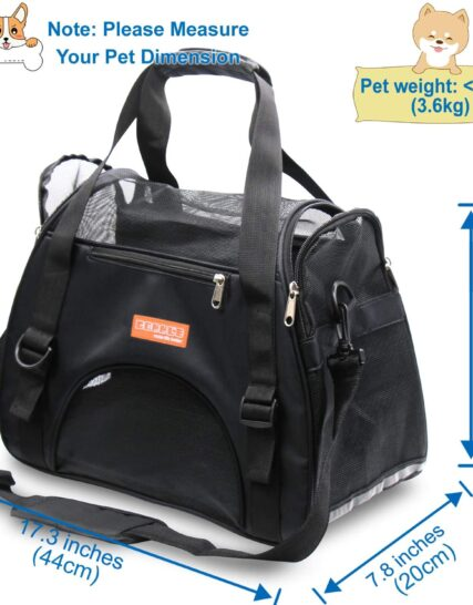 DentJet Pet Travel Carriers for Cats and Dogs, Soft Sided Portable Dogs Cats Bags Dog Carrier, Zipper Lock Collapsible Cat Carrier Puppy Kittens Rabbits Hamster Bag, Airline Approved Underseat, Black