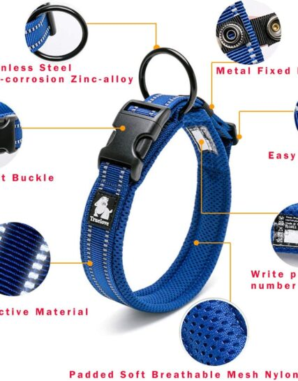 Kismaple Honden halsband reflecterend Verstelbaar Gewatteerd Zacht Knus Halsband voor honden Kleine/middelgrote/grote honden, ademend Lichtgewicht buiten Hondenhalsband (M (40-45cm), Blue)