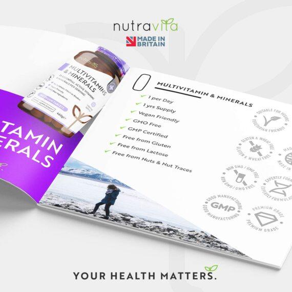 Multivitamins & Minerals - 365 Vegan Multivitamin Tablets - 1 Year Supply - Multivitamin Tablets for Men and Women with 26 Essential Active Vitamins & Minerals - Made in The UK by Nutravita