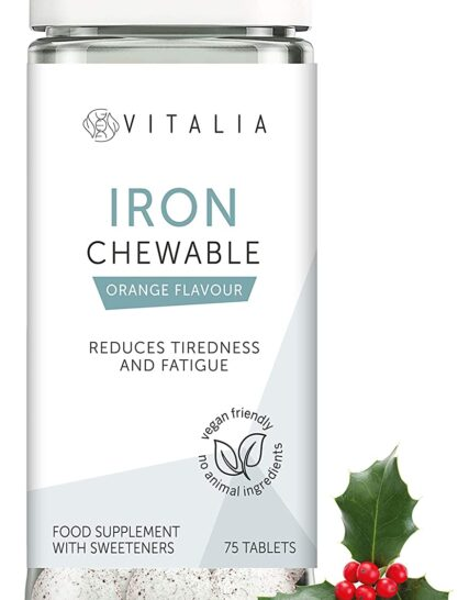 Vitalia ® | Chewable Iron Tablets with Vitamin C | Mineral Iron Supplement That Reduces Tiredness and Fatigue | Tasty Orange Flavour | Vegan Friendly - No Animal Ingredients | 75 Tablets
