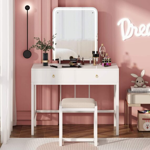 Tribesigns large dressing table ,vanity set with Led mirror and stool bedroom furniture with drawers for makeup,modern white