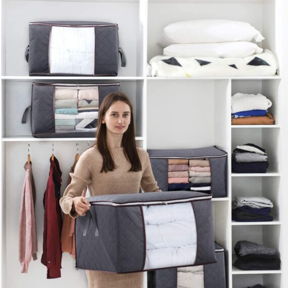 Lifewit Large Capacity Clothes Storage Bag Organizer with Reinforced Handle Thick Fabric for Comforters, Blankets, Bedding, Foldable with Sturdy Zipper, Clear Window, 3 Pack, Grey