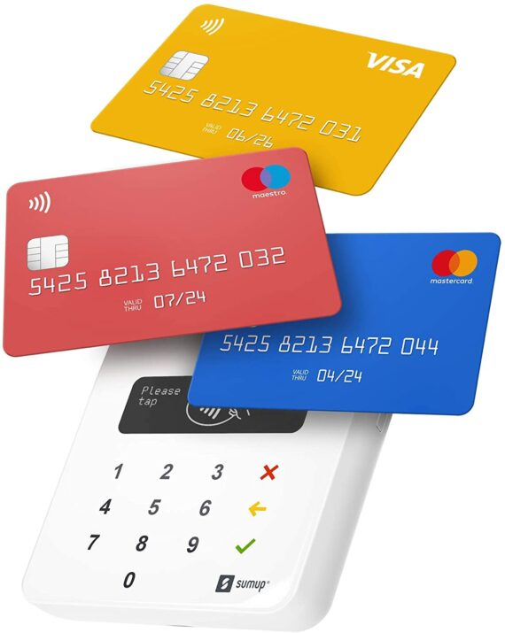SumUp Air mobile card terminal for contactless payments with Credit & Debit Card, Apple & Google Pay - NFC RFID money card reader - practical credit card reader - contactless card payment