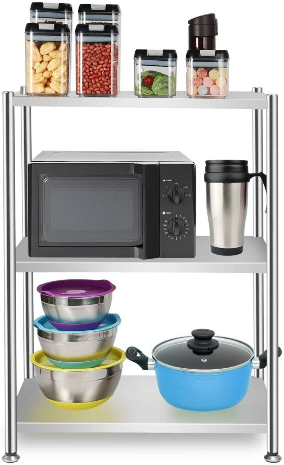 3 Tier Shelf Shelving Units, Metal Storage Garage Shelves, Stainless Steel Wire Organisation, Kitchen Catering Table, Suitable For Pantry Kitchen Office Livingroom Bathroom, 59 * 35 * 79 CM