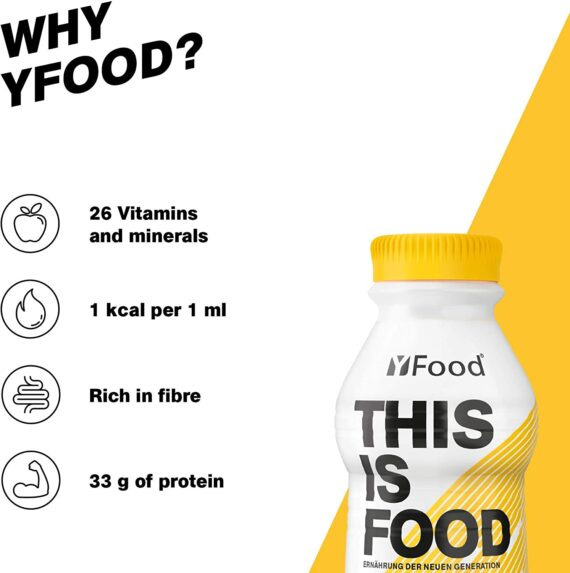 YFood Banana, Ready to Drink Meal | Lactose and Gluten-Free Meal Replacement | 34 g of Protein, 26 Vitamins and Minerals |25% of Daily Calorie Requirement | 12 x 500 ml (1 kcal/ml)