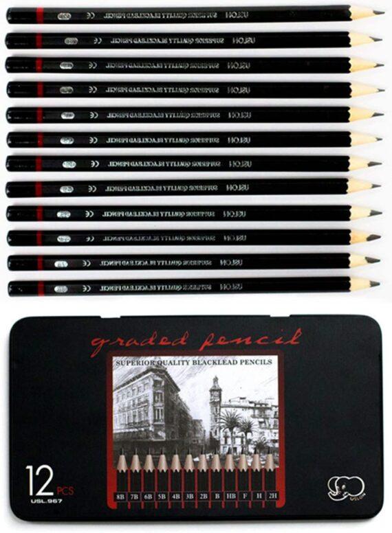 Professional Sketch and Drawing pencils set,Art Pencil(8B-2H). (12-Count)
