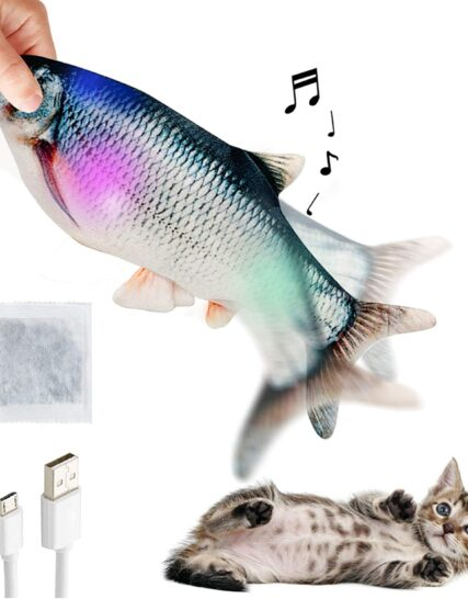 Catnip Toys for Cats, Electric Lighting Musical Interactive Cat Fish Toy with Catnip, Realistic Plush Fish Cat Toys for Indoor Cats Biting Chewing and Kicking