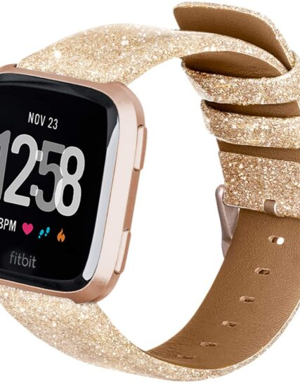 Aladrs Compatible for Fitbit Versa Strap Fashion Shiny Bling Grain Leather Sequin Band Replacement Sport Wristband for Fitbit Versa 2 Strap Fitbit Versa Lite Edition Watch Bands