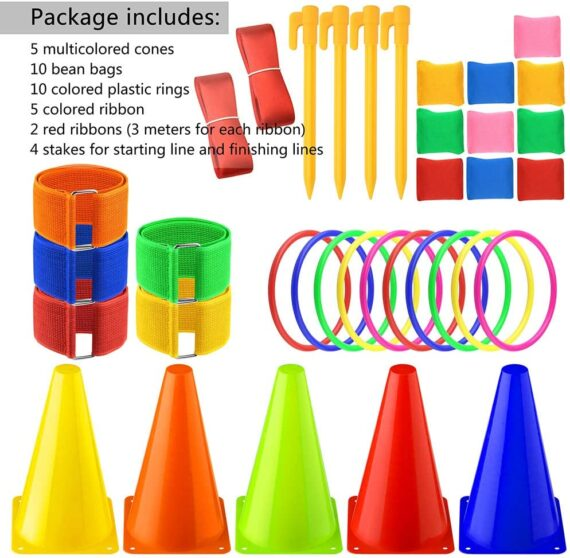 FEPITO 6 in 1 Outdoor Games Combo Set Carnival Cornhole Bean Bags Ring Toss Game Supplies 36 Pcs Set