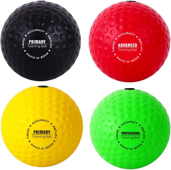 YMX BOXING Ultimate Reflex Ball Set - 4 React Reflex Ball Plus 2 Adjustable Headband, Great for Reflex, Timing, Accuracy, Focus and Hand Eye Coordination Training for Boxing, MMA and Krav Mega
