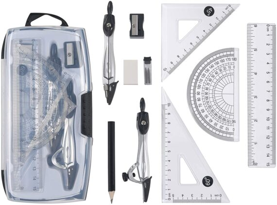 Vicloon Geometry Compass Set, 10pcs Maths Set in Carry Case, Educational Supplies wiht 2 Types Drawing Compasses, Maths Protractor Set, Ruler Set, Pencil, Eraser, Sharpener for School, Engineers