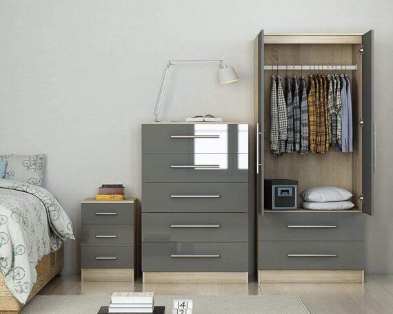 MMPTN Three Piece Bedroom Furniture Set Bedside, Chest, Wardrobe,Grey