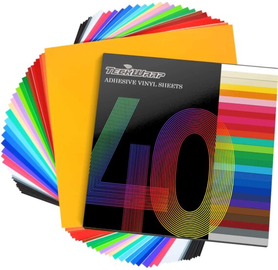 """TECKWRAP Permanent Adhesive Vinyl Sheets 12"""" x 12"""" 40 Sheets/Pack Assorted Colors for Craft Cutters"""