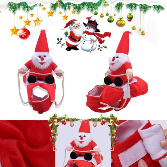 Runostrich Running Santa Dog Costume Christmas Pet Clothes, Dog Apparel Party Dressing up Clothing for Small Large Dogs Pet Funny Festival Holiday Outfit (Medium)