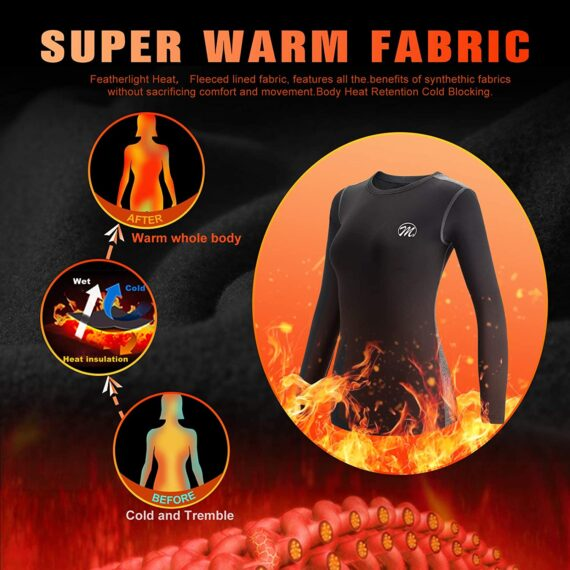 MEETWEE Women's Thermal Underwear Set, Winter Base Layer for Ladies, Long Sleeve Top & Bottom Quick Dry Long Johns Suit with Fleece Lined for Running Skiing Workout