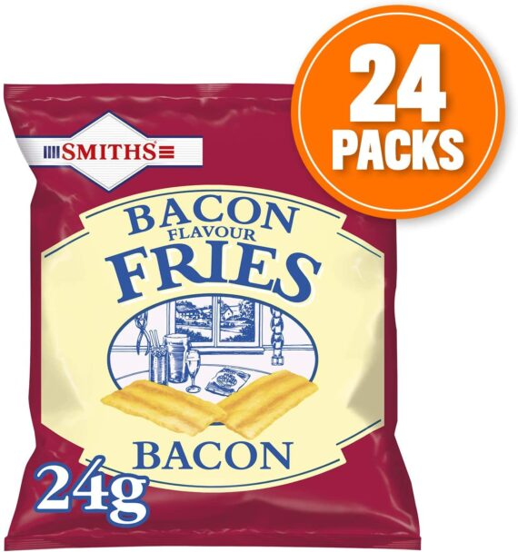 Smiths Savoury Snacks Bacon Fries Carded Pub Favourites Snacks, 24 g (Pack of 24)