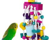 Pawaboo Pet Bird Chewing Toys, Parrot Cage Bite Toys, Bird Tearing Entertaining Toys, Multicolored Wooden Block Tearing Toys for Small and Medium Parrots and Pet Birds, Colorful