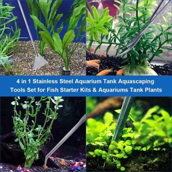 Lukovee Aquarium Tank Tool Kits, 4 in 1 Aquarium Kit Tool Accessories Stainless Steel Tweezers Scissor Spatula Multi Functional Aquarium Tank Tool Set for Aquatic Plants Trim Aquascaping Cleaning