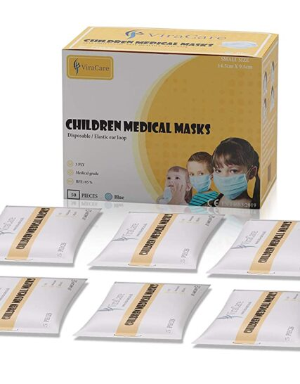 ViraCare 3 Ply Medical Surgical Children & Kids Face_Mask_Face Covering with Ear Loop (UK Stock Available) 50 PIECES (Wrapped and Boxed in 10 Packs of 5) (Also suitable for smaller head sizes)