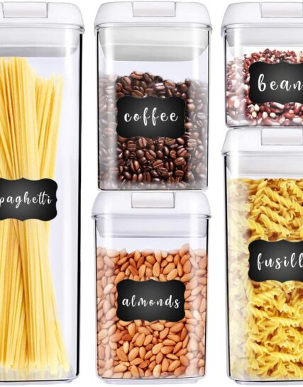 George Olivier Stackable Food Storage Containers with New Unbreakable Airtight Lids, Set of 5 + 8 Chalkboard Labels & Marker - Non-BPA & Food Grade Plastic - Spaghetti & Cereal Dispenser