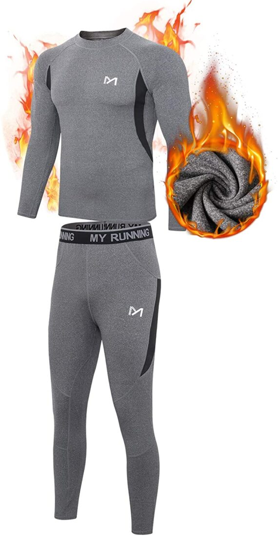 MEETYOO Men's Thermal Underwear Set, Wicking Long Johns Quick Dry Base Layer Sport Compression Suit for Workout Skiing Running Hiking