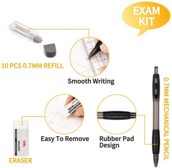 8 Pcs Maths Set - Geometry Compass Sets Exam Stationery Pencil Case - Math Kit Educational Supplies Drawing Compass and Protractor Set, Pencil Lead Refills, Pencil, Eraser, Rulers for School