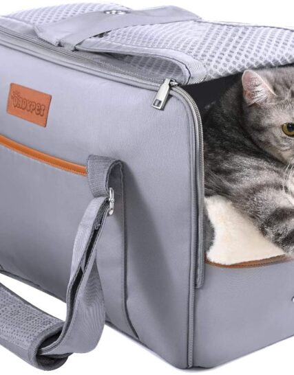 DADYPET Pet Carrier Bag,Cat Carrier,Expandable Travel Pet Bag Top Opening, Removable Mat and Breathable Mesh,Airline Approved Soft Sided,Foldable Cat Carrier Transport Bag for Puppy Dogs Cats