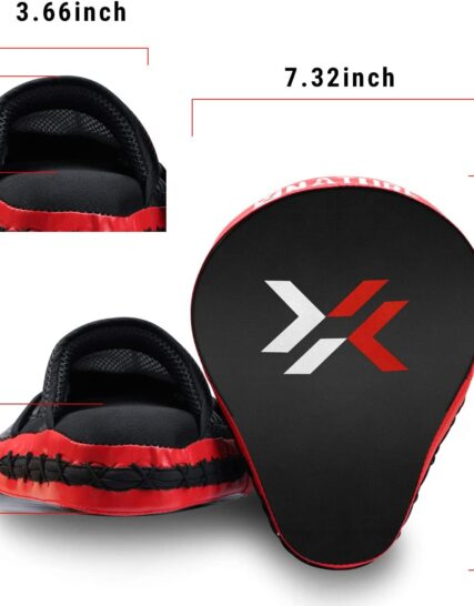 Xnature Boxing Equipment Punching Gloves Thai Pads Boxing Training Mitts Kickboxing Pad Punch Pad Boxing Mitts Punching Pad (Punching Mitts A pair Red)
