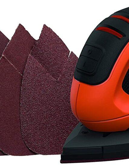 BLACK+DECKER 55 W Detail Mouse Electric Sander with 6 Sanding Sheets, BEW230-GB