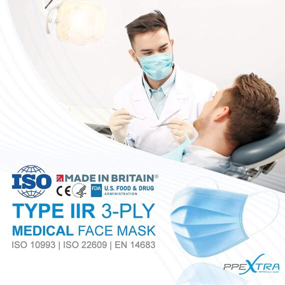 50 PCS Type IIR 3-Ply Medical Masks, PPEXtra Surgical Masks, 100% Made in Britain, ISO and EN Compliant, For Medical Uses, Fluid Resistant, Latex free, Non-sterile (box of 50)