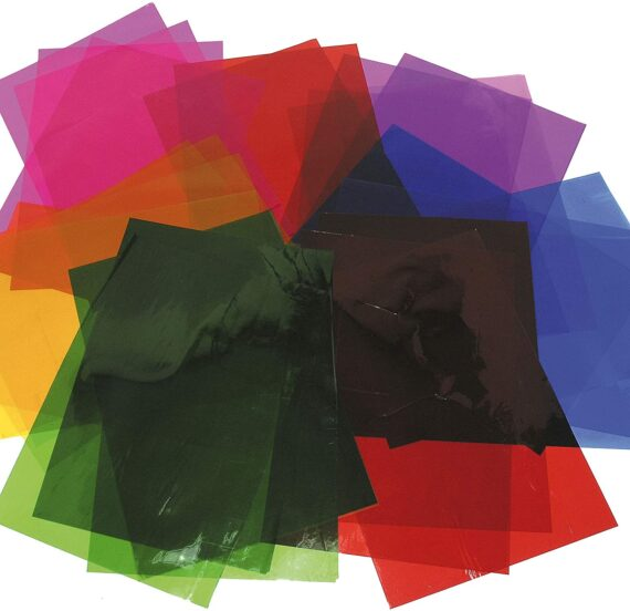 Baker Ross EK5452 A4 Cellophane Sheets Value Pack, Assorted Colours — Creative Art and Craft Supplies for Kids' Projects Stained Glass Decorations and Collage (Pack of 36), Paper