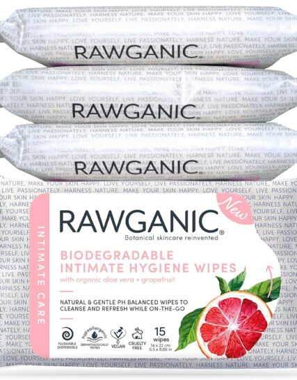 RAWGANIC Organic Intimate Hygiene Wipes | Hypoallergenic, Alcohol-Free, Fragrance-Free Flushable, Biodegradable Intimate Pre-Waxing Wipes | with Grapefruit and Aloe Vera | 4 Packs (60 Wipes in Total)