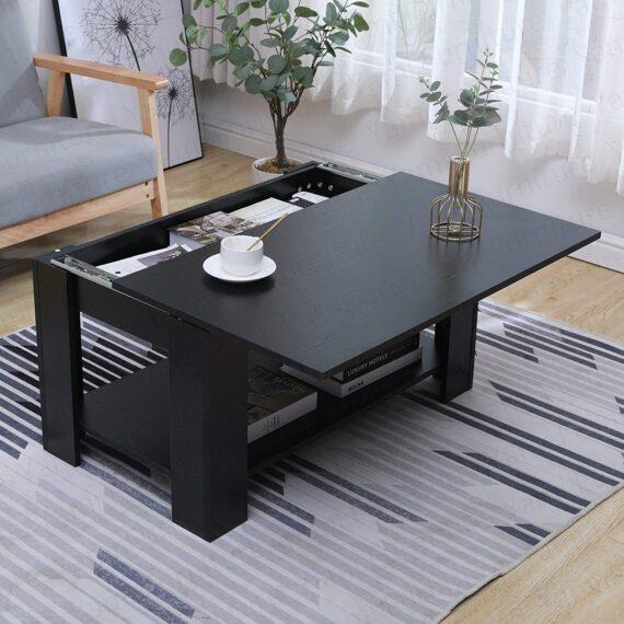 Yaermei Livingroom Coffee Tea Table with Sliding Top & Large Hidden Storage Space Office Furniture (Black-Style 1)