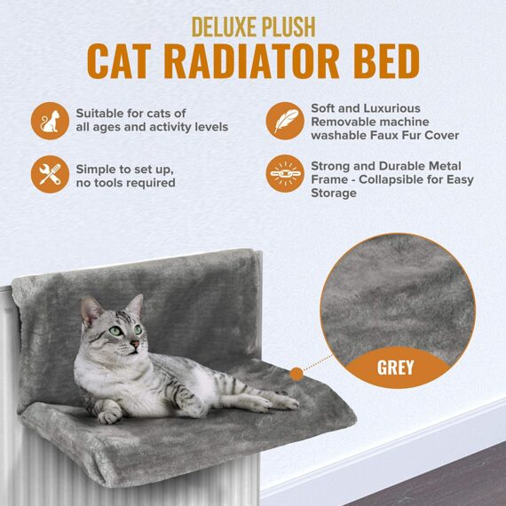 Petlicity Warm and Cosy Pet Cat and Dog Radiator Bed (Grey)