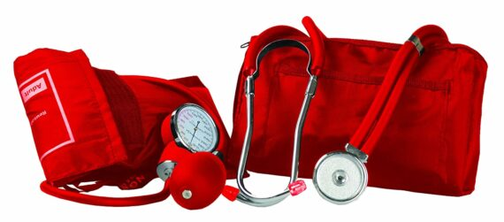 Primacare Medical Supplies DS-9181-RD Red Professional Blood Pressure Kit with Sprague Rappaport Stethoscope